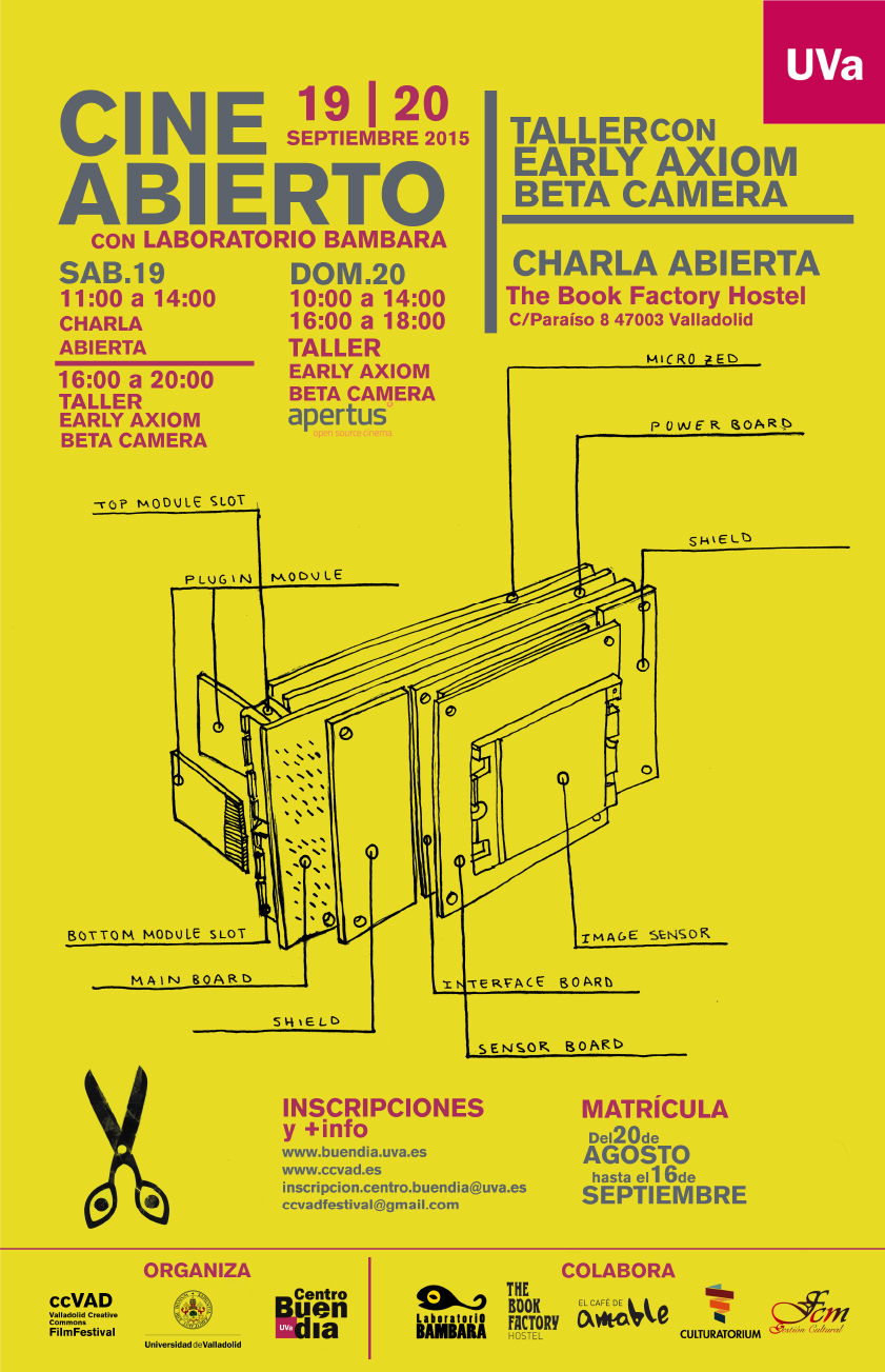 Cartel del taller de cine abierto con «Early AXIOM Beta camera»