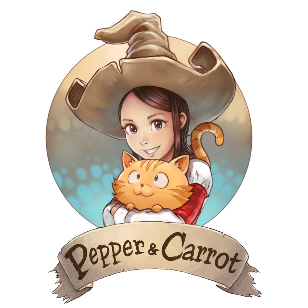 Pepper & Carrot logo  by David Revoy  Fuente: https://www.peppercarrot.com/en/static6/sources&page=press